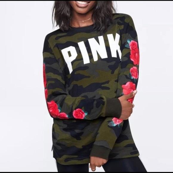 bfae553aeff5c PENDING TRADE😻NWOT VS PINK Camo &Roses Campus Top